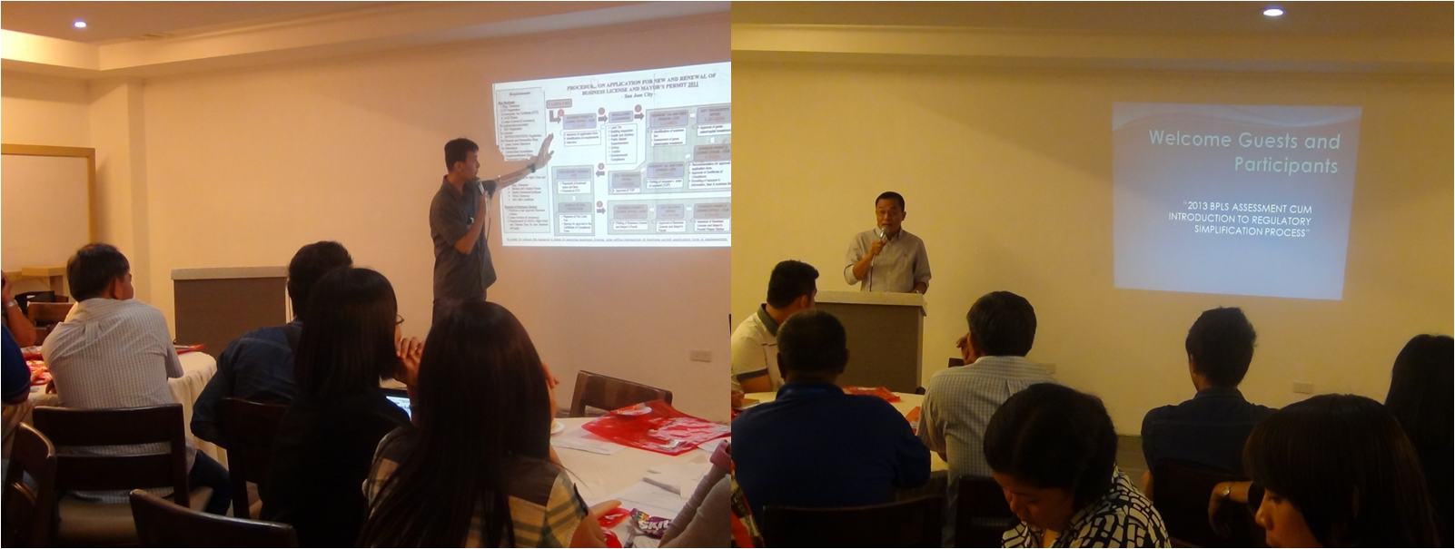 (left photo) Dr. Bobby Pagulayan discusses the RSP. (right photo) ARD Abraham Pascua delivers his welcome message